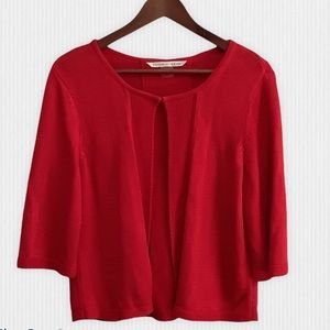 Peter Nygard Open Front Red Cardigan Size Large